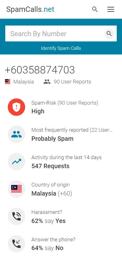 Search for Phone Numbers and identify unwanted Calls.
